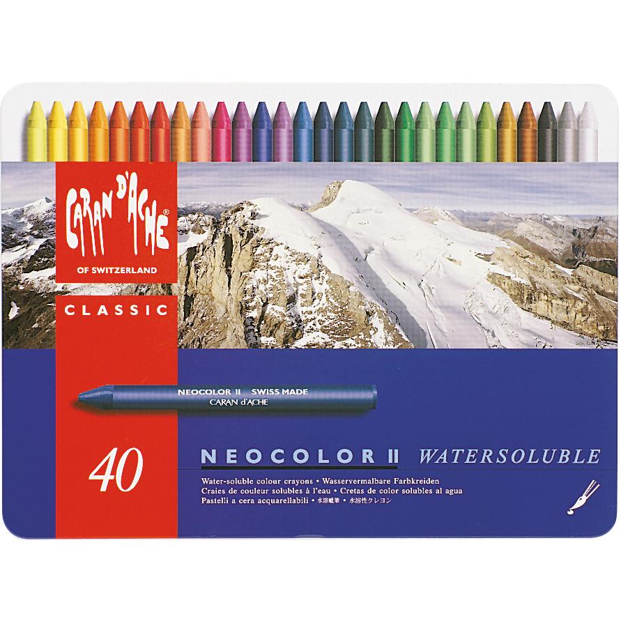 Caran D'Ache NeoColor II Water Soluble Wax Pastel Set 40/Pk-