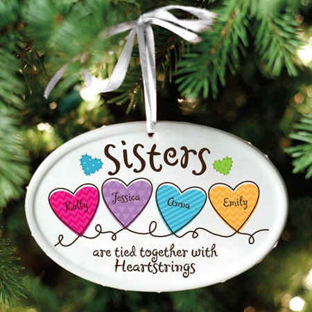 Personalized Sisters Heartstrings Oval Christmas Ornament