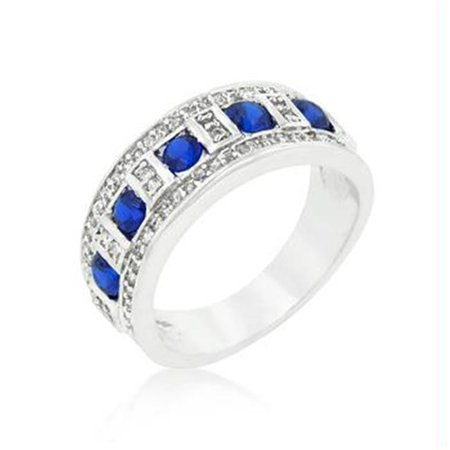 Blue and Clear Encrusted Silver Tone Ring, Size : 06 - image 1 of 1