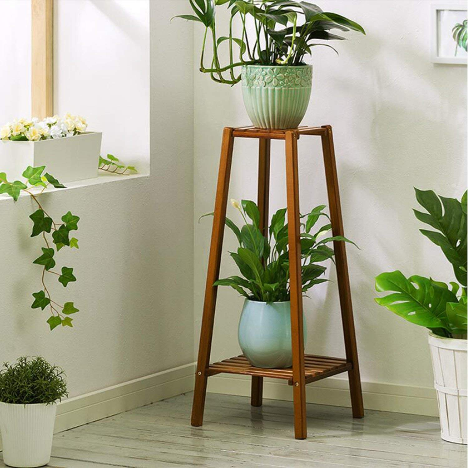 Magshion Bamboo 2 Tier Tall Plant Stand Pot Holder Small Space Table Walmart Com Walmart Com