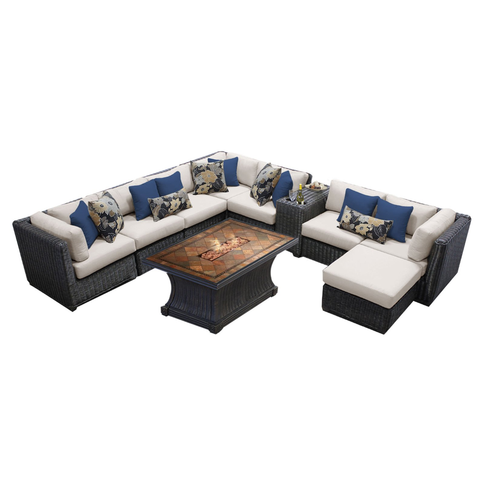 TK Classics Venice Wicker 10 Piece Patio Conversation Set with 2 Sets of Cushion Covers by Delacora