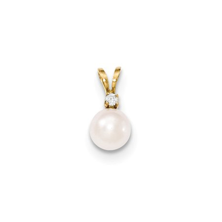 Roy Rose Jewelry 14k Yellow Gold 7-8mm Round White Saltwater Akoya Cultured Pearl Diamond Pendant Yellow Gold Round Picture Pendant