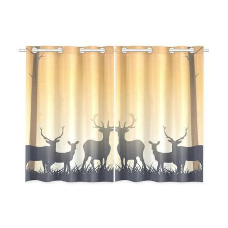 MKHERT Wild Deer Blackout Window Curtain Kitchen Curtain 26x39 inch, 2 Panels (John Deere Drapes)