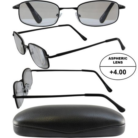 Black And Gold Glasses (3 Pairs of Men's High-Powered Reading Glasses: Matte Black, Gold and Silver Frames and Black and Brown Cases +4.00 Magnification Aspheric)