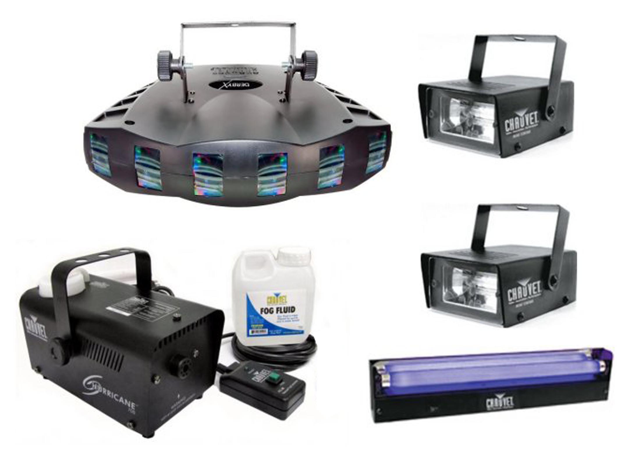 Chauvet DJ Derby X DMX Effect Light w  Fog Machine + Blacklight + Mini Strobes by Chauvet Dj
