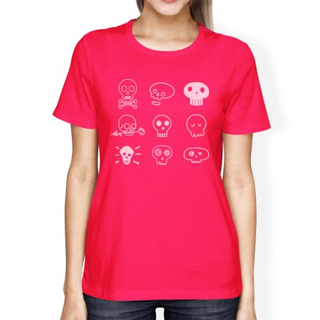 Skulls T-Shirt For Women Hot Pink Cute Halloween Horror Night Shirt - Halloween Horror Night Prices