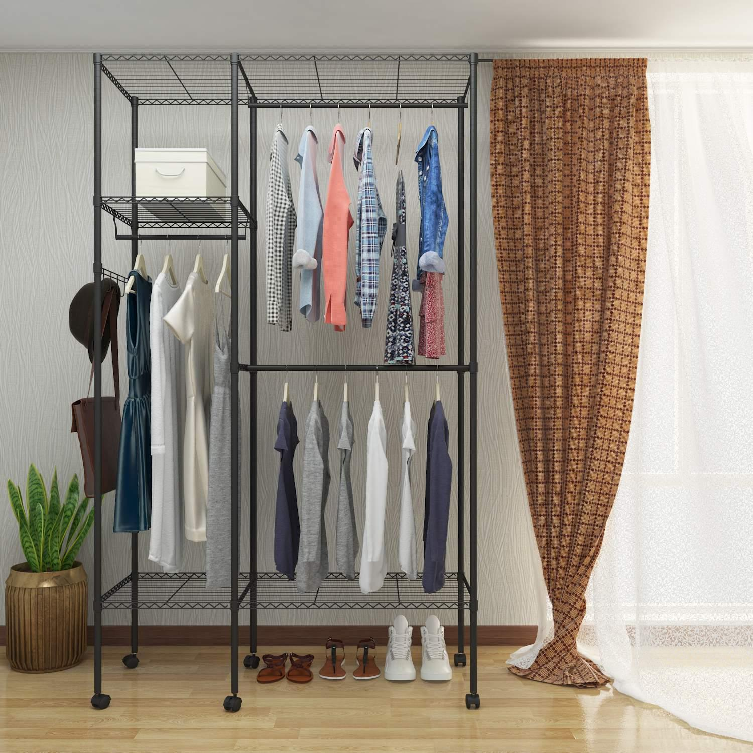 SPHP The worth buy Wire Shelving Garment Rack With Wheels Closet Hanger Storage Organizer Clothes Wardrobe  SPHP