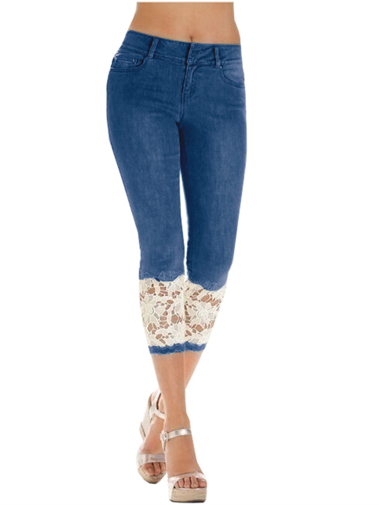 Women's Lace Patchwork Skinny Capri Jeans Denim Pants