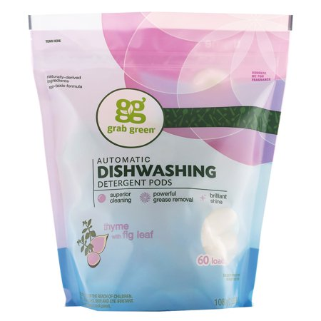 Grab Green Automatic Dishwashing Detergent Pods, Thyme with Fig Leaf, 60 Loads,2lbs, 6oz (1,080 g)