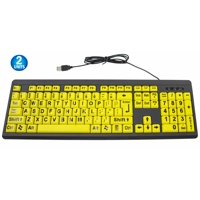 2 Big & Bright EZ See Keyboard - USB Wired - High Contrast Yellow With Black Oversized Letters - Low Vision Visually Impaired Keyboard For Seniors or Bad Visions
