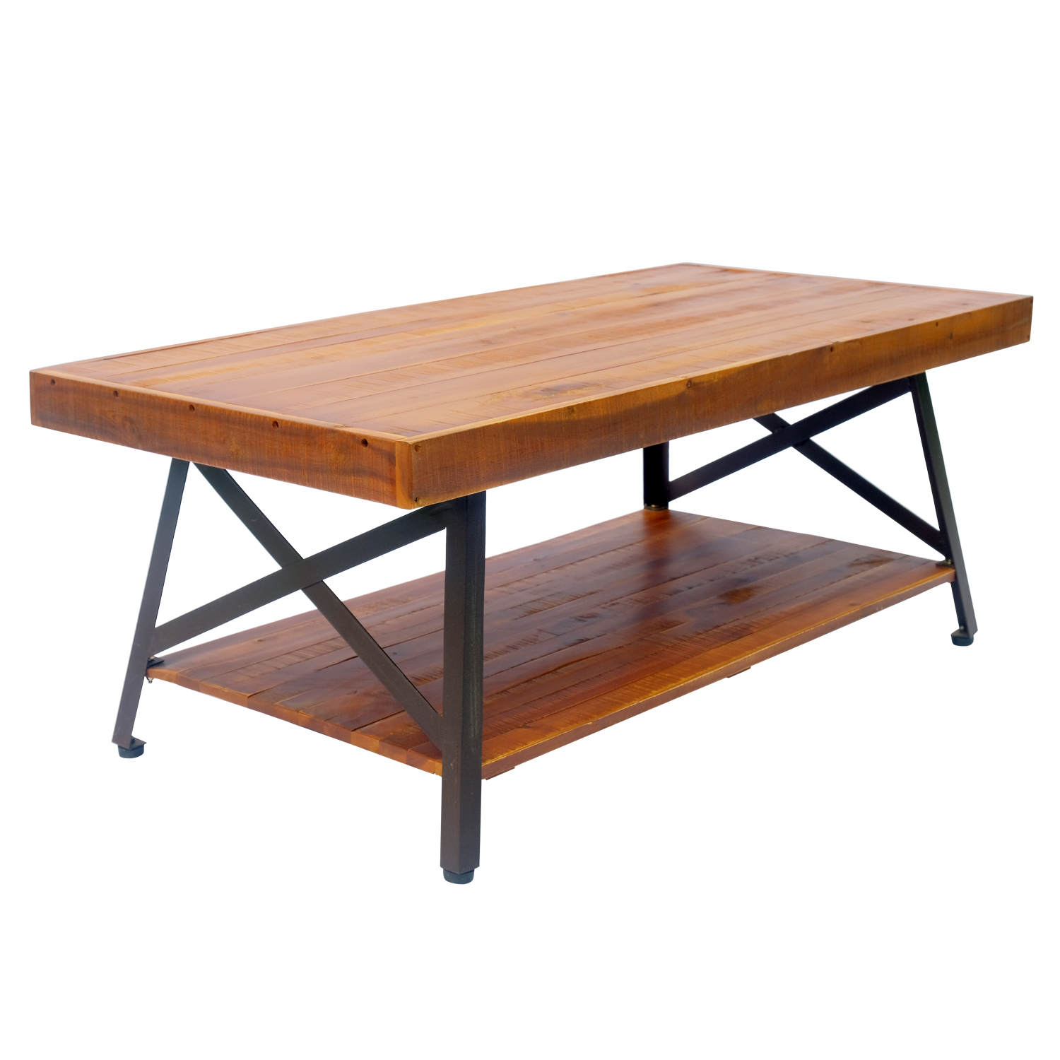 Outsunny Acacia Wood Rustic Patio Coffee Table With Storage Shelf