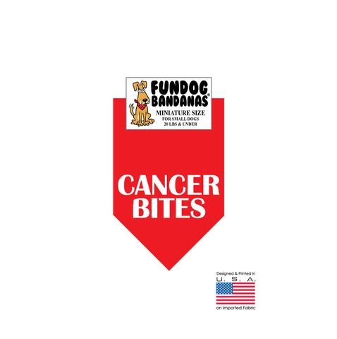 MINI Fun Dog Bandana - Cancer Bites - Miniature Size for Small Dogs under 20 lbs, red pet scarf