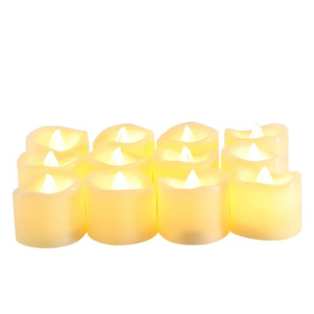 Battery Operated LED Votive Candles Realistic Flickering Flameless Tea Lights Set Bulk Electric Fake Night Candle Lights for Halloween Christmas Party Wedding Decorations 12 Pack Batteries Included](Battery Operated Tea Lights Bulk)