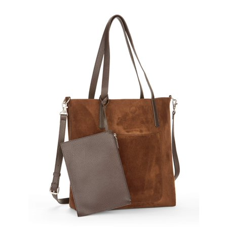 Time and Tru Leigh North South Reversible Tote with Pouch](Bible Tote Bag)