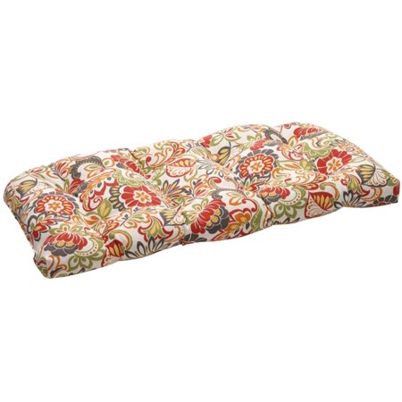 44  Eco Friendly Retro Red Multicolored Floral Outdoor Wicker Loveseat Cushion