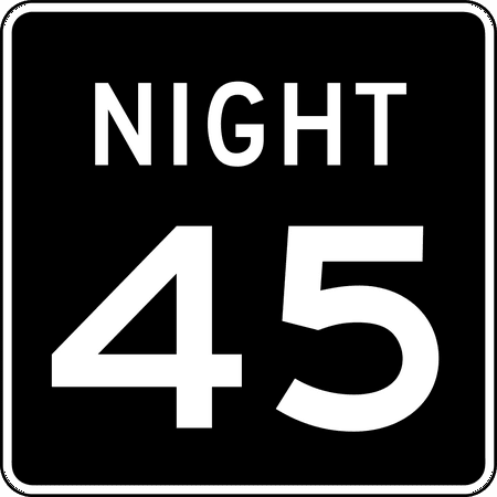 Traffic Signs - R2-3P: Night Speed Limit (Plaque) 12 x 18 Peel-n-Stick Sign Street Weather Approved Sign
