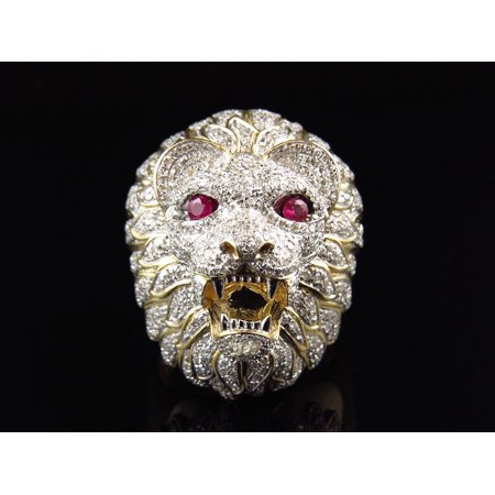 10K Yellow Gold 3D Lion Face Diamond Pinky Ring  2 25Ct