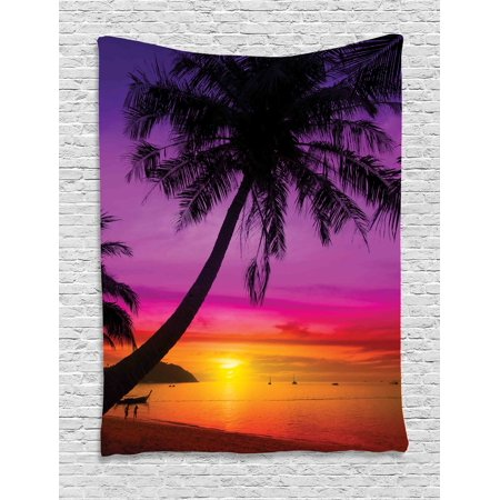 Tropical Decor Wall Hanging Tapestry, Palm Tree Silhouette On Tropical Beach At Sunset Summertime Travel Destination, Bedroom Living Room Dorm Accessories, By Ambesonne