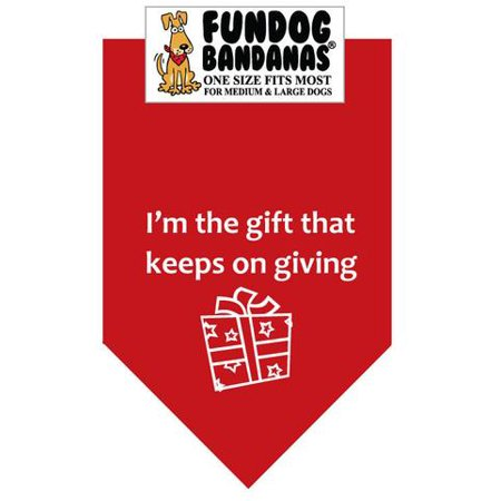 Fun Dog Bandana - I'm the Gift that Keeps on Giving - One Size Fits Most for Med to Lg Dogs, red pet scarf (Stores That Sell Bandanas)