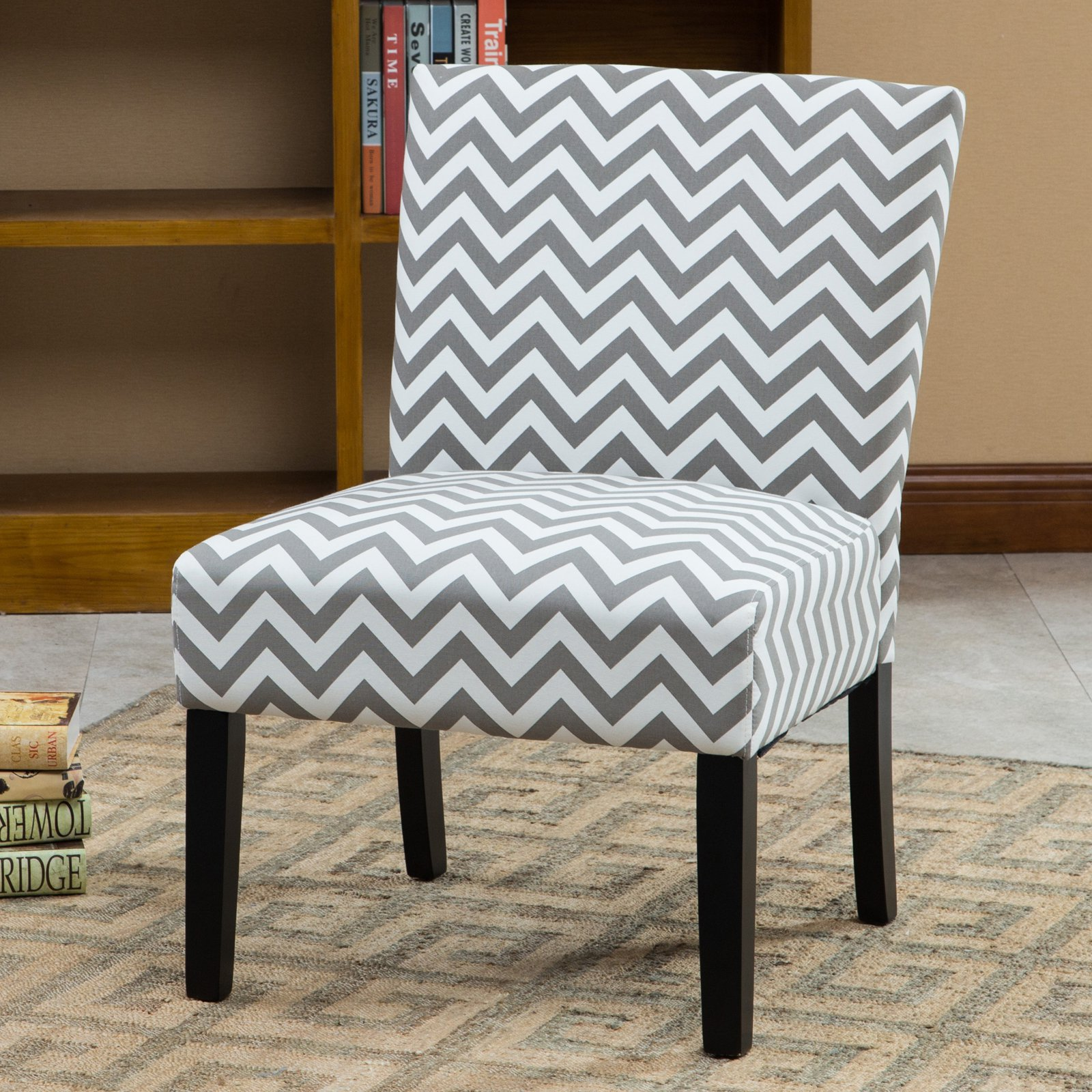 Roundhill Botticelli Grey Wave Print Fabric Armless Contemporary Accent Chair, Single by Roundhill Furniture Inc