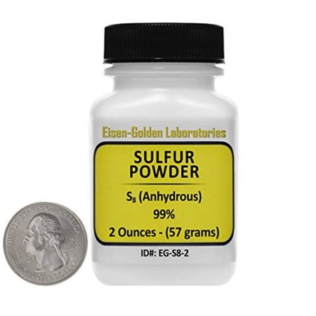 Sulfur Powder [S8] 99% ACS Grade Powder 2 Oz in a Mini Space-Saver Bottle