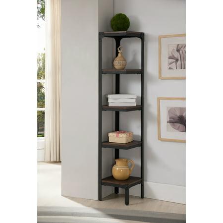 Walnut Wood   Black Metal Frame Contemporary 5 Tier Shelf Corner Bookcase Storage Home   Office Organizer Display Unit