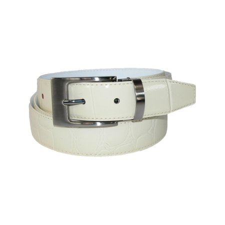 Leather Croc Print Dress Belt with Clamp On Buckle