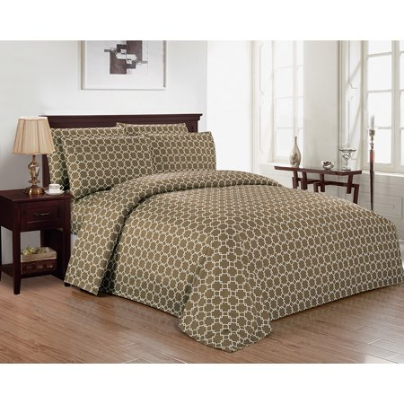 Calvin Geo Micro Full Sheet Set in Taupe (Calvin Klein Bed Sheets)