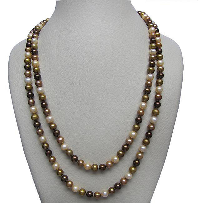 DaVonna Multi-colored Brown Freshwater Pearl 72-inch Strand (6.5-7 mm)