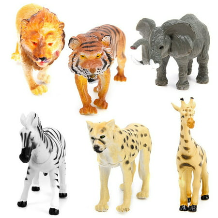 6pcs Plastic Model Tiger Leopard Lion Giraffe Zebra Elephant Wild Animals Toy](Plastic Toy)