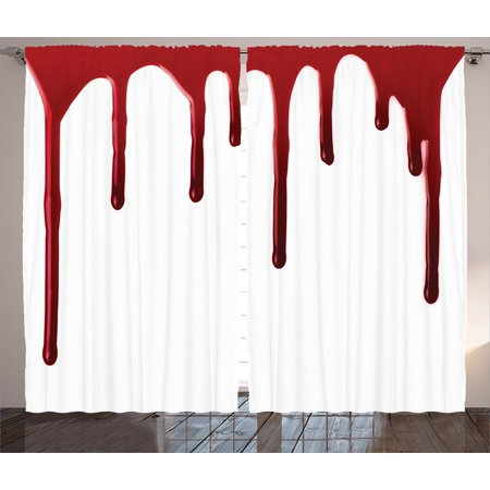 Bloody  Curtains 2 Panels Set, Flowing Blood Horror Spooky Halloween Zombie Crime Scary Help me Themed Illustration, Living Room Bedroom Decor, Red White, by Ambesonne - Halloween Window Panels