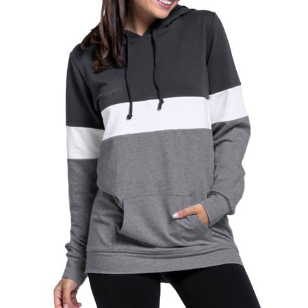 c71c4be06 Nlife - Nlife Women's Front Pocket Drawstring Colorblock Hoodie -  Walmart.com
