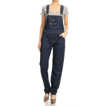 Denim Vintage Overalls - Casual Womens Vintage Wash Straight Leg Denim Overalls With Pocket Bib