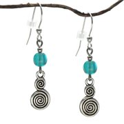 Jewelry by Dawn  Turquoise Blue Glass Double Swirl Dangle Earrings