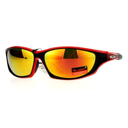 Xloop 80s Oval Mirrored Mirror Lens Warp Around Sports Sunglasses (Orange And White Sunglasses)