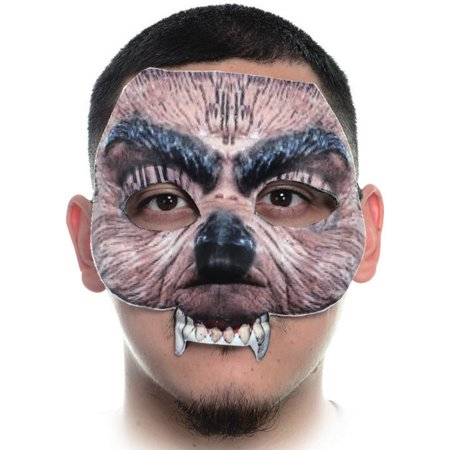 Creepy Fabric Form Fitting Werewolf Face Mask Costume Accessory