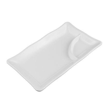 Unique Bargains Plastic 2 Compartments Dumpling Sushi Sauce Mustard Dipping Dish Plate Off White 2 Compartment Sauce Dish