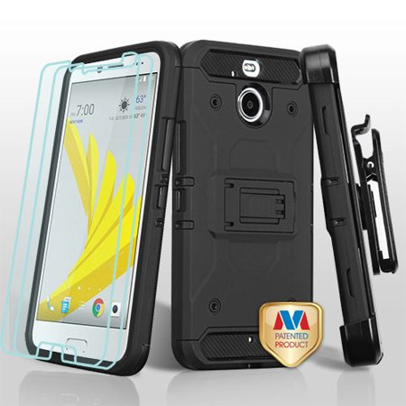 For HTC Bolt 3-in-1 Kinetic Hybrid Protector Cover Combo Holster Tempered Glass