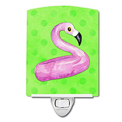 Caroline's Treasures Flamingo Floaty Green Polkadot Ceramic Night Light 6x4 Multicolor Dots Heart Night Light