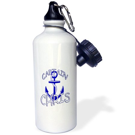 3dRose Captain Chris. Personalized quotes., Sports Water Bottle, 21oz