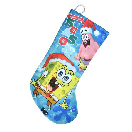 spongebob and patrick star with santa hats satin christmas stocking blue 17 1 - Blue Christmas Stocking