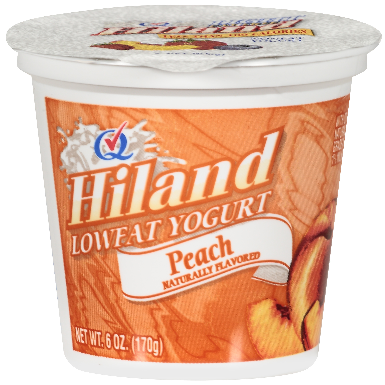 Hiland Lowfat Peach Yogurt, 6 oz
