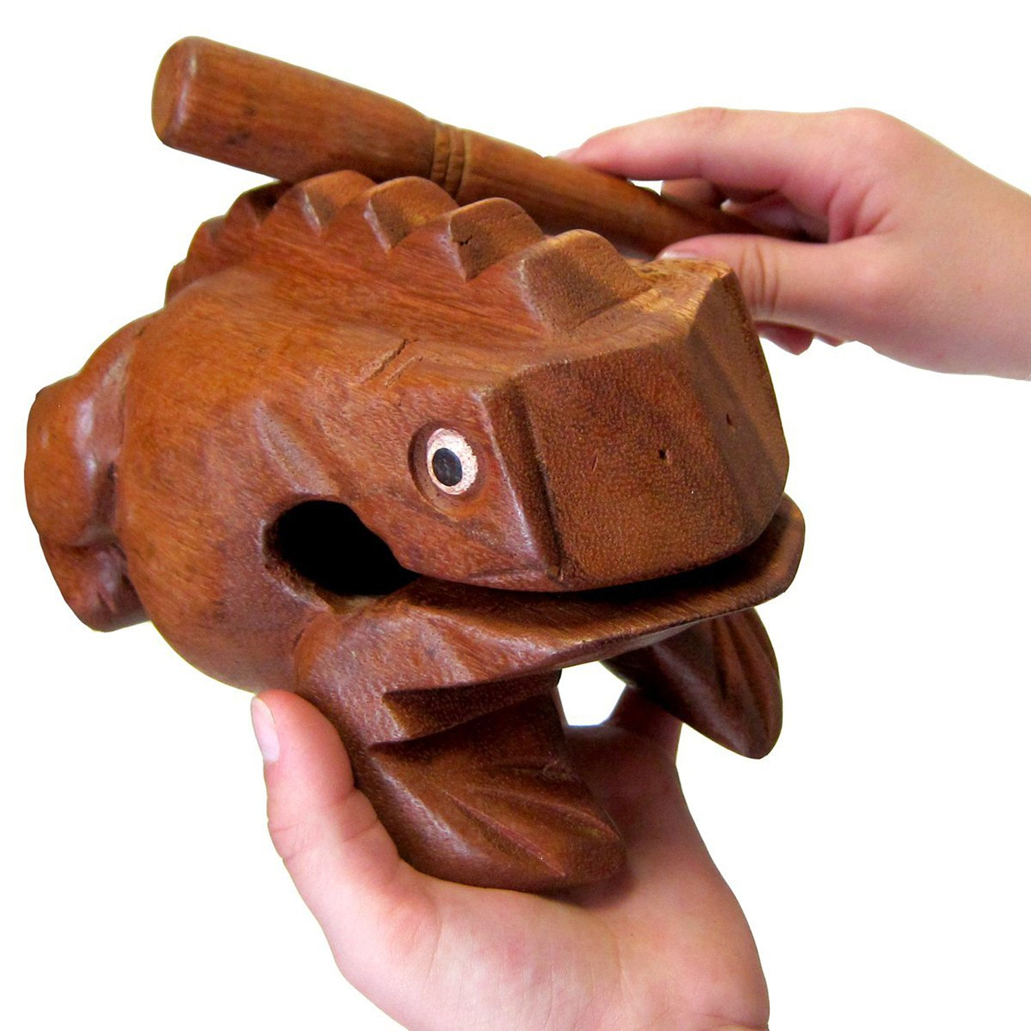 "Deluxe JUMBO 8"" Wood Frog Guiro Rasp - Musical Instrument Tone Block by World Percussion USA"