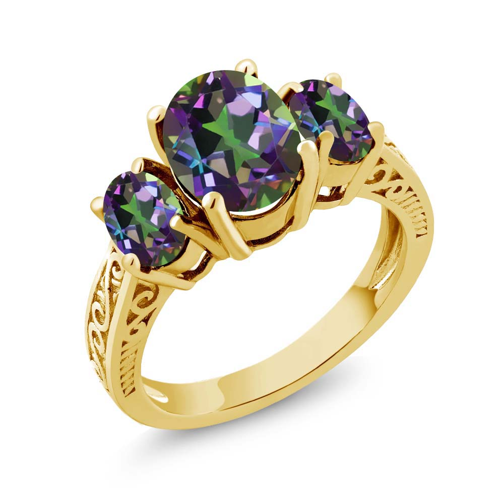 3.40 Ct Oval Green VS Mystic Topaz 925 Yellow Gold Plated Silver 3-Stone Ring