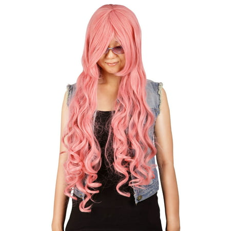 Simplicity Girls Extra Long Cosplay Halloween Wig Curls Side Bangs, Pink - Cheap Cosplay Wigs Online