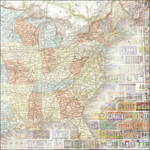 "Road Trip Paper 12""X12""-US Map East"