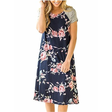 Floral Print Short Sleeve Casual Dress Summer Women Bohemian Bench Wear - Blue Jumpsuit