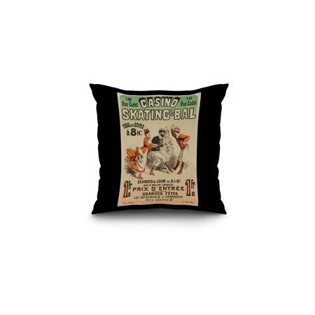 Casino Seating (Casino Skating - Bal Vintage Poster (artist: Cheret) France c. 1876 (16x16 Spun Polyester Pillow, Black Border))