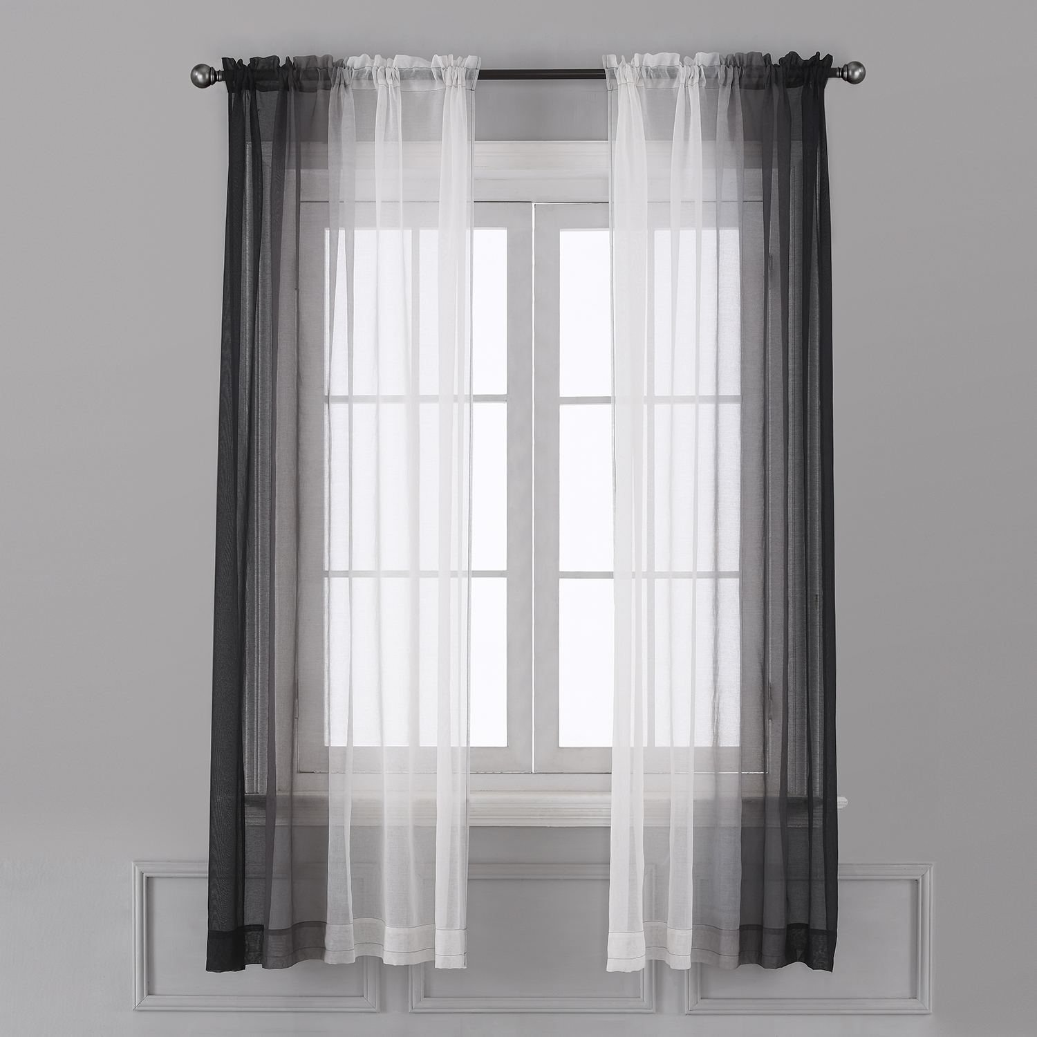 Ombre Sheer Curtains Faux Linen Gradient Semi Voile Rod Pocket Bedroom And Living Room Curtains Set Of 2 Window Curtain Panels 52 W X 96 L Walmart Canada