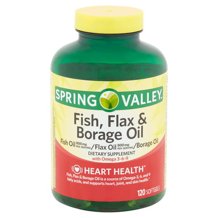 (2 pack) Spring Valley Fish, Flax & Borage Oil Softgels, 120 count (Flax Essence)
